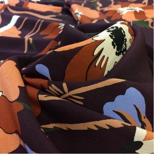 Шелк креповый принт Valentino купон маки на бордово-сиреневом фоне