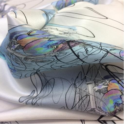 Шелк атласный стрейч принт Ferragamo абстракция на молочном фоне