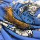 Шелк креповый принт Scervino карты и солнце на голубом фоне