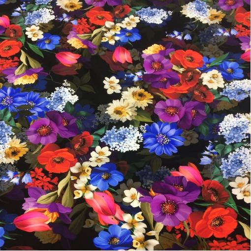 Шелк креп стрейч DG принт цветочные букеты на темном фоне