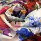 Шелк креп стрейч DG принт цветочные букеты на белом фоне