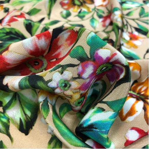 Шелк креповый принт Louis Vitton акварельные цветы на бежевом фоне