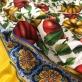 Шелк нарядный стрейч принт D&G большой платок помидоры в желто-красных тонах