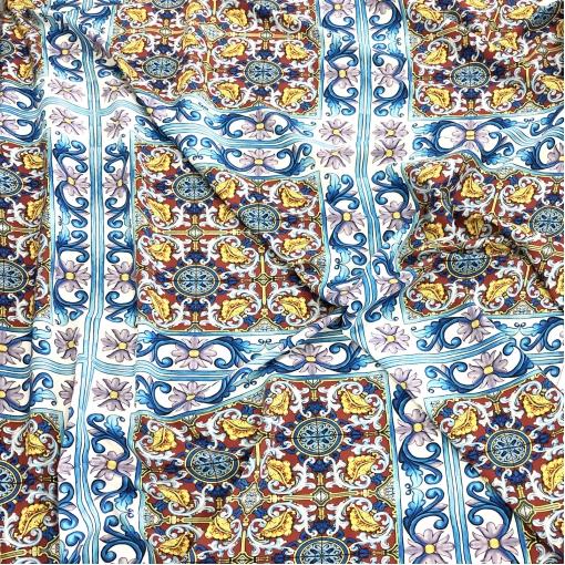 Шелк матовый стрейч принт D&G плитки и вензеля в голубой гамме