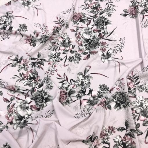 Шелк креповый полупрозрачный принт Blumarine букеты на холодном розовом фоне