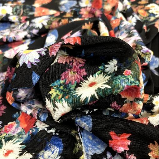 Трикотаж шелковый принт Pierre Cardin цветочная поляна на черном фоне