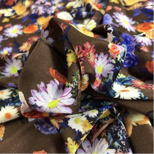 Трикотаж шелковый принт Pierre Cardin цветочная поляна на шоколадном фоне