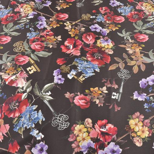 Атласный шелк стрейч цветы и ключи на темно-коричневом фоне