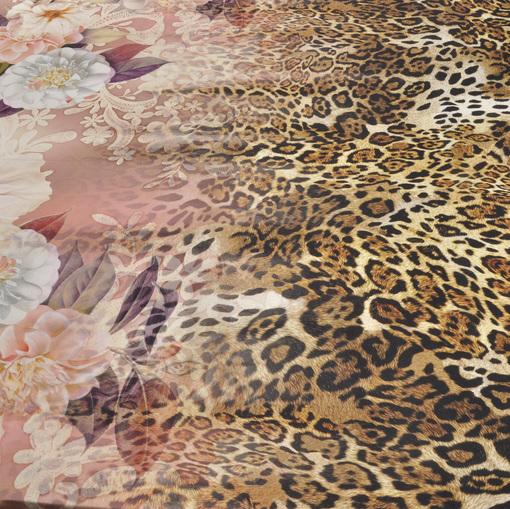 Атласный стрейчевый шелк цветы и леопард