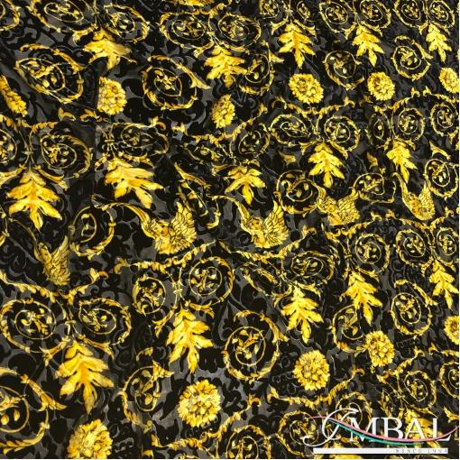 Панбархат деворе шелк с вискозой дизайн Versace барокко с ангелами
