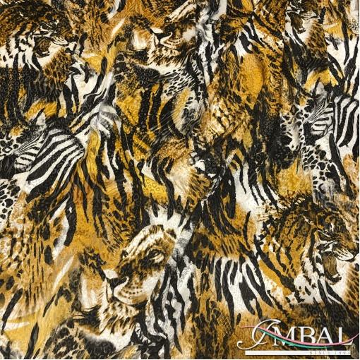 Бархат деворе шелк с вискозой дизайн D&G с элементами тигра, зебры и леопарда