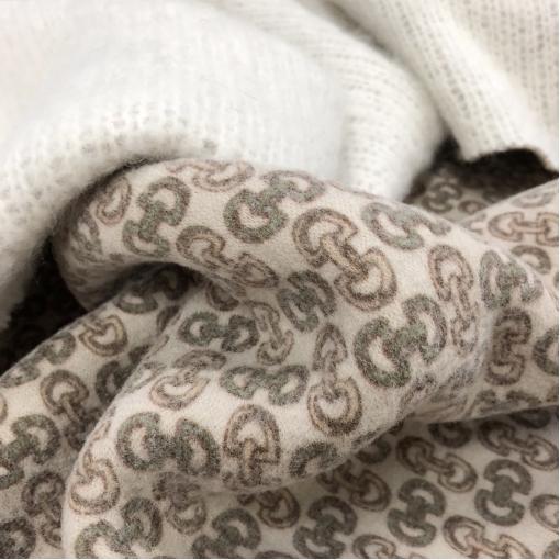 Ткань пальтовая с мохером дизайн Gucci в молочно-бисквитных тонах
