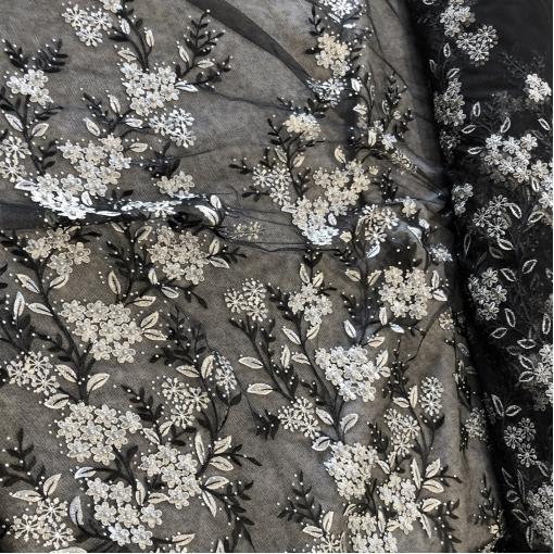 Кружево дизайн Elie Saab вышивка на сетке с пайетками в серебристо-черной гамме