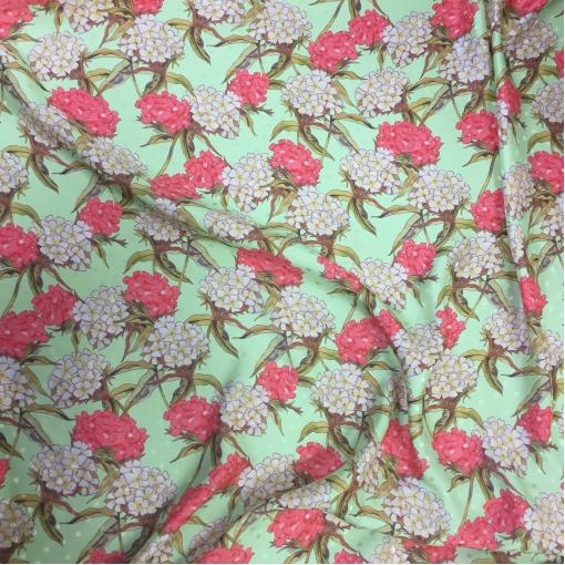 Шелк жаккардовый принт Gai Mattiolo коралловые цветы на мятном фоне