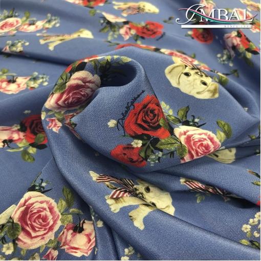 Шелк матовый принт Dolce&Gabbana собачки на сине-фиалковом фоне