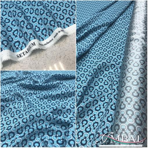 Шелк матово-атласный принт Hermes голубые колечки