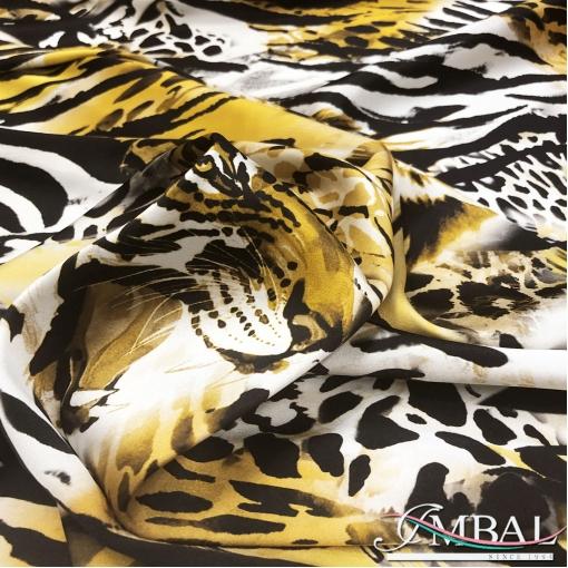 Шелк атласный стрейч принт D&G с элементами зебры,тигра и леопарда