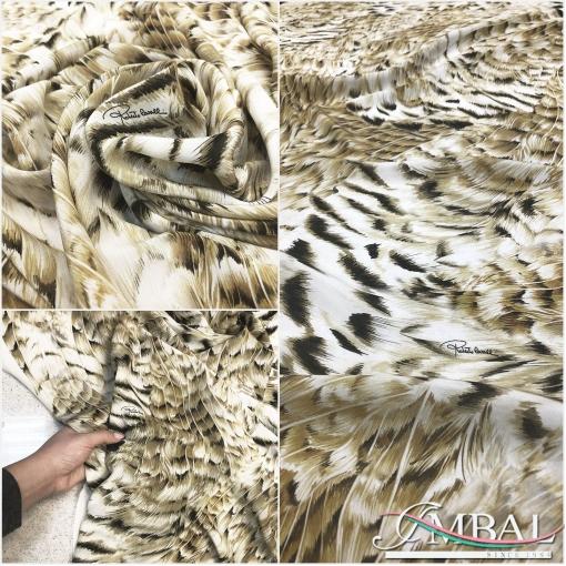 Шелк креповый стрейч принт Roberto Cavalli имитация меха и перьев