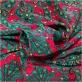 Шелк креповый принт ETRO изумрудный узор на красном фоне