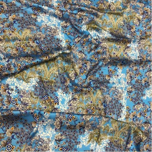 Шелк атласный стрейч принт ETRO Цветы на голубом фоне