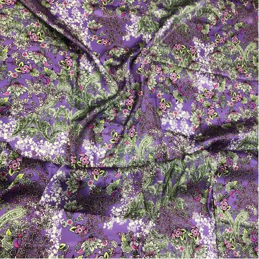 Шелк атласный стрейч принт ETRO цветы на сиреневом фоне