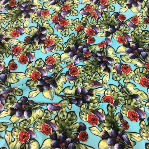 Шелк креповый принт D&G инжир и листья на  голубом фоне