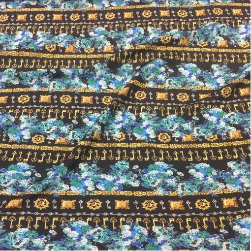Шелк креповый принт D&G ключики и бирюзовые цветы
