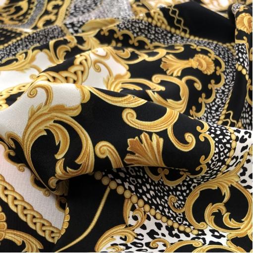 Шелк креповый принт Versace пэчворк: платки вензеля и леопард