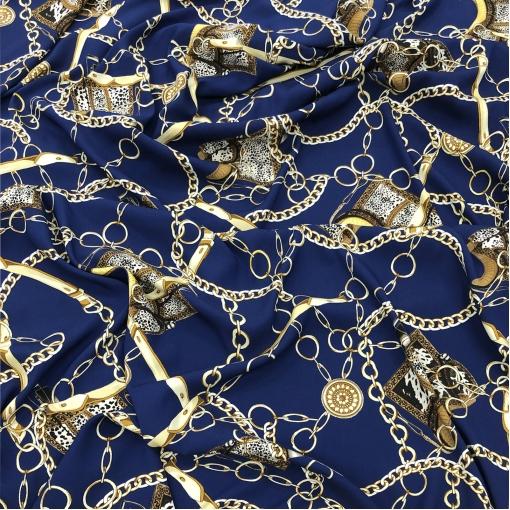 Шелк креповый стрейч принт Gucci цепи и леопард на синем фоне