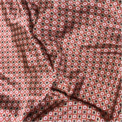 Шелк атласный принт Prada графический узор в гренадиново-серой гамме