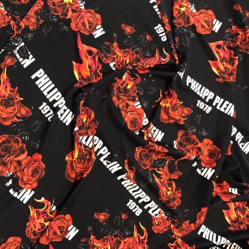 Шелк атласный стрейч дизайн Philipp Plein пламя и розы