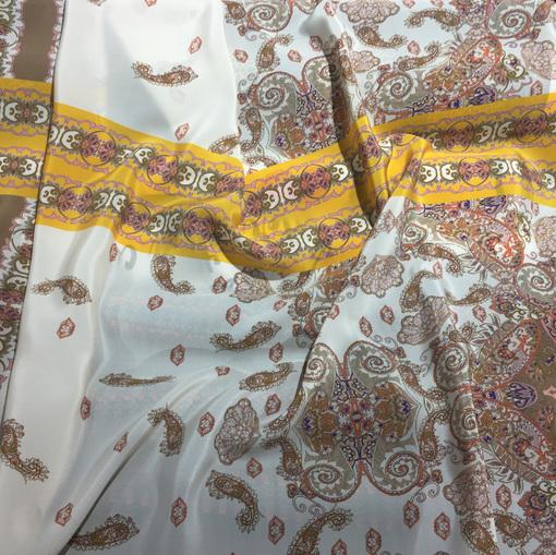 Шелк креповый принт ETRO коричнево-желтый купон