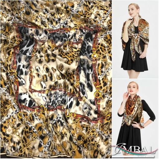 Шёлк креп стрейч принт Versace большой платок с ремнями и цепями