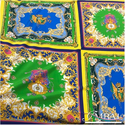 Шелк креповый стрейч дизайн Versace разноцветные платки в желто-синих тонах
