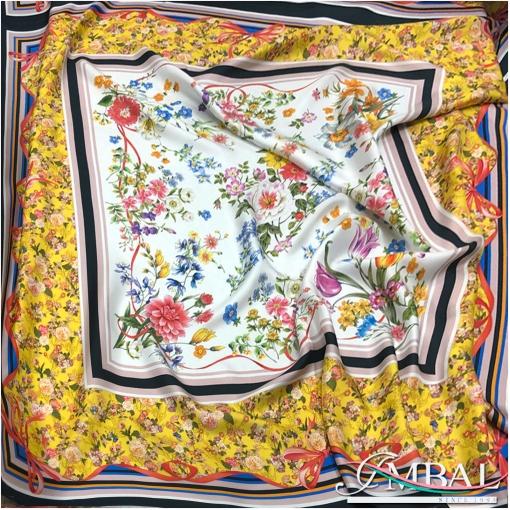 Шелк твил платок 140х140 см дизайн Celine полевой букет с бантом в желто-белой гамме