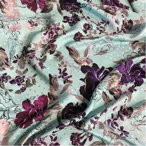 Шелк жаккардовый принт Ungaro сиреневые розы на разбелено-бирюзовом фоне