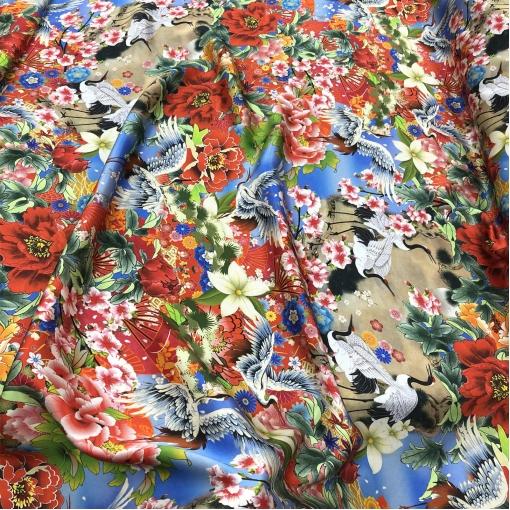 Шелк атласный принт McQueen аисты, цветы, веера в японском стиле
