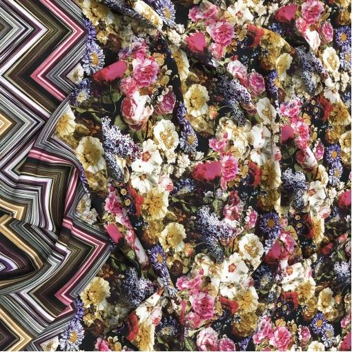 Шелк креповый принт Missoni продольный купон цветочная поляна и зигзаги