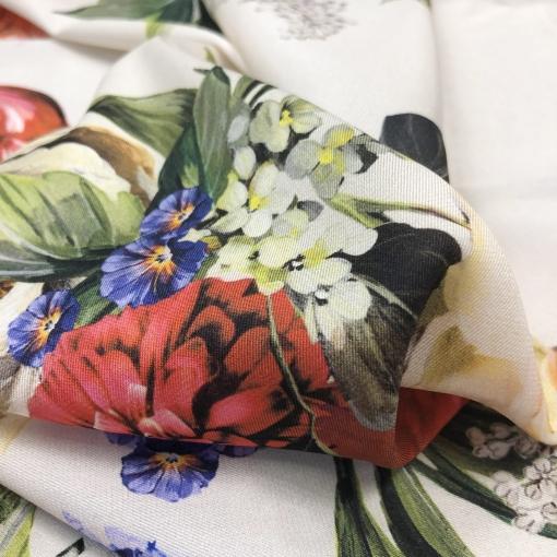Шелк креповый матовый стрейч принт Blumarine букетики на фоне цвета экрю