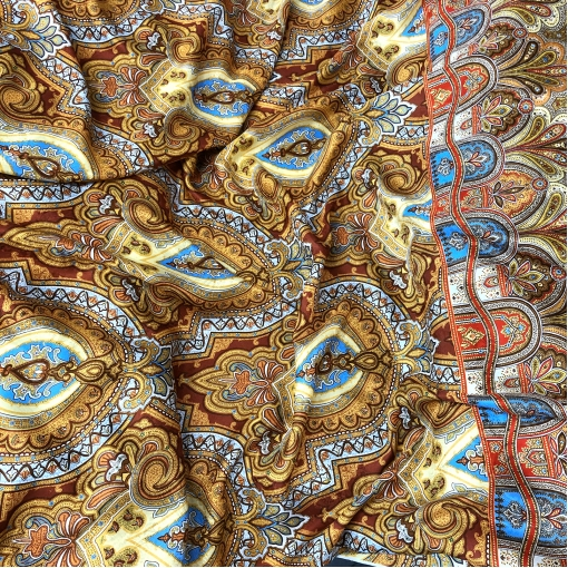 Шелк жаккардовый принт Setarium купон восточный узор в терракотово-голубых тонах