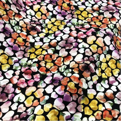 Шелк креповый принт Setarium сердечки на шоколадном фоне
