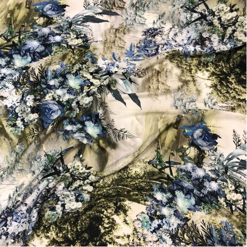 Шелк матово-атласный стрейч принт Dior абстракция и цветы в оливково-синих тонах