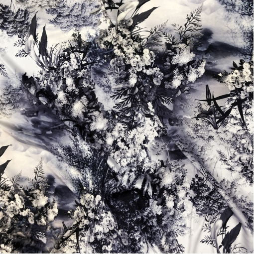 Шелк матово-атласный стрейч принт Dior абстракция и цветы в темно-синих тонах