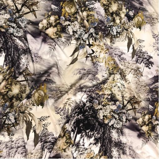 Шелк матово-атласный стрейч принт Dior абстракция и цветы в золотисто-баклажановых тонах