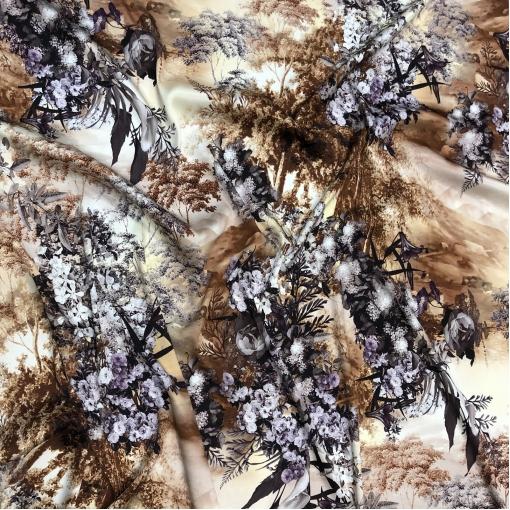 Шелк матово-атласный стрейч принт Dior абстракция и цветы в охристо-свекольных тонах