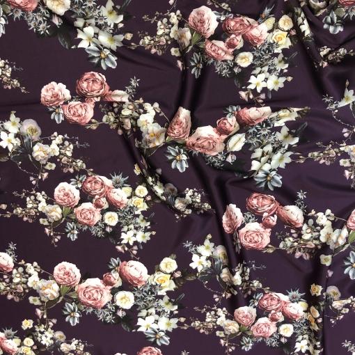 Шелк матово-атласный стрейч принт D&G цветочные букеты на фоне цвета марсала