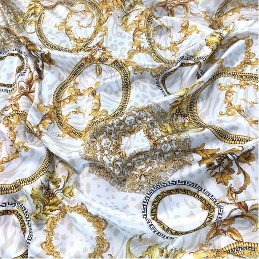 Шелк атласный принт Versace узоры и вензеля в золотисто-молочной гамме