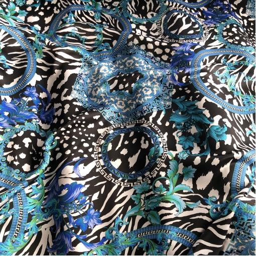 Шелк атласный принт Versace узоры и вензеля в сине-черной гамме