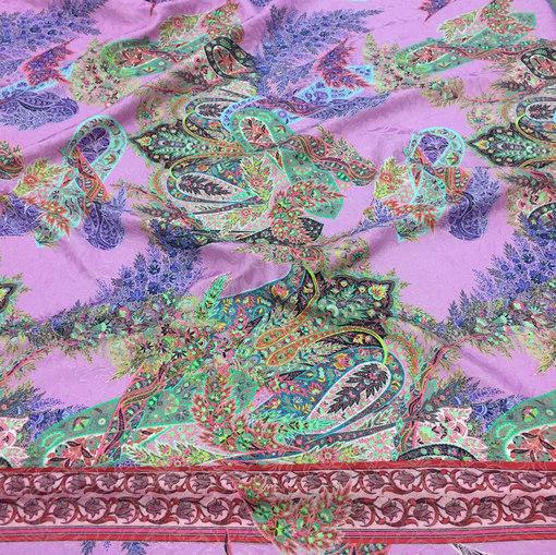 Жаккард костюмно-плательный LACROIX купон огурцы на розовом