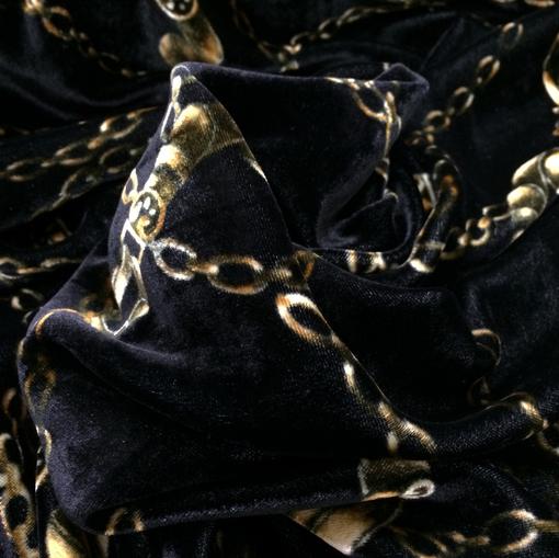 Панбархат принт Gucci с цепочками черного цвета